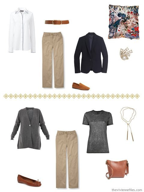 two outfits using khaki pants, from a navy, grey and camel capsule wardrobe