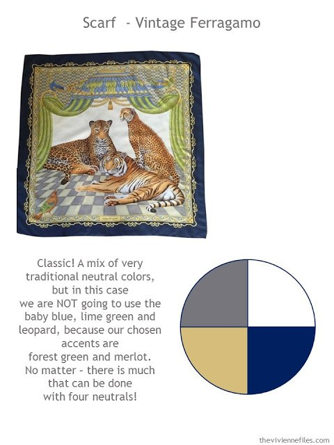 Vintage Ferragamo scarf with style guidelines and color palette