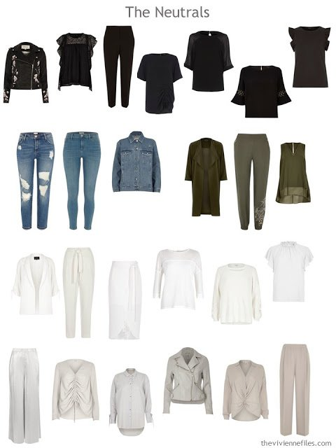 """Neutral clothes in seven colors, taken from a 50-piece """"magpie"""" wardrobe"""