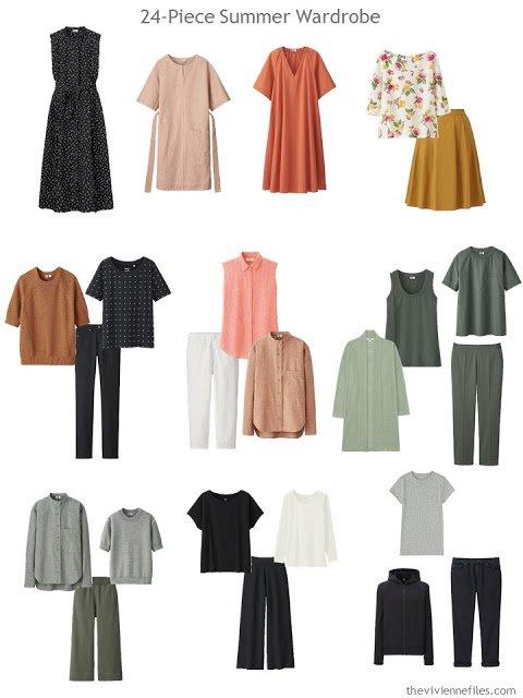 a 24-piece warm weather wardrobe