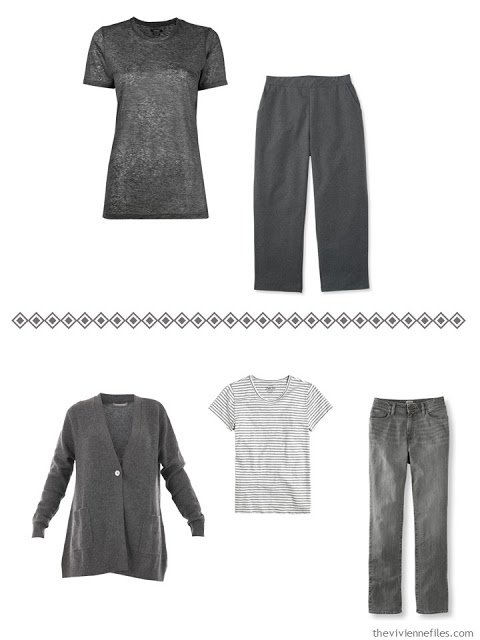 two grey outfits