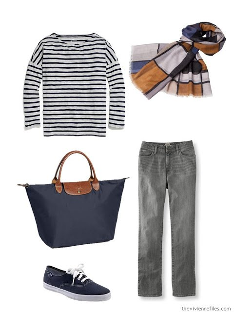 grey and navy outfit with navy fabric accessories