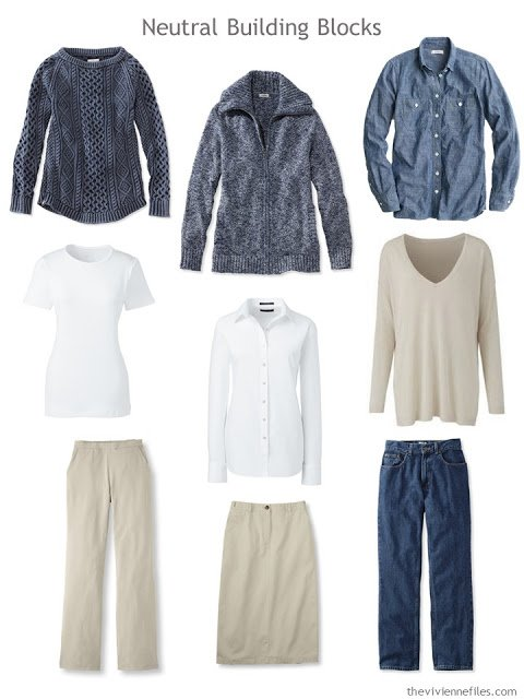 nine wardrobe Neutral Building Blocks in denim, khaki and white