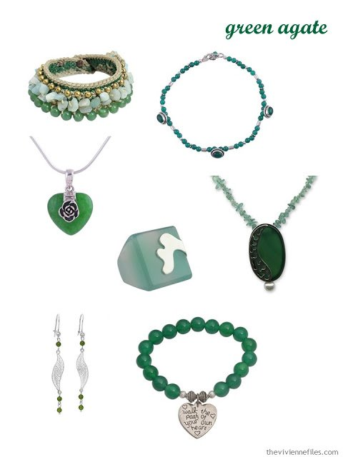 seven pieces of green agate jewelry
