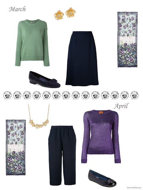 Esme Enchantment scarf by Ted Baker London with outfits for March and April