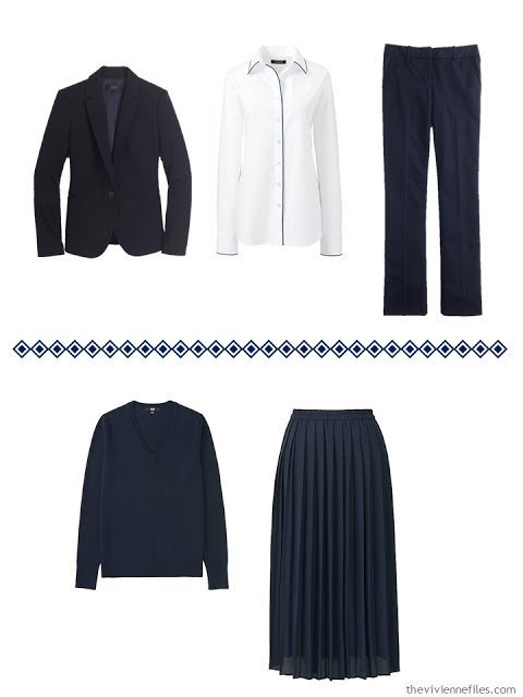 Two navy business outfits