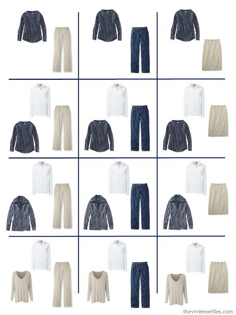 a dozen outfits built from the 9 wardrobe Neutral Building Blocks in denim, white and khaki