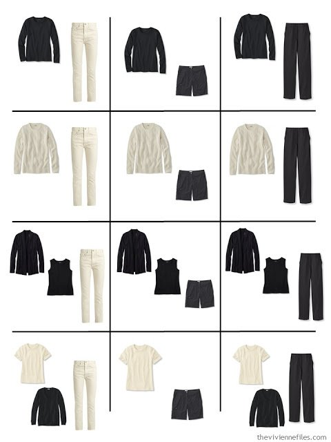 a dozen outfits assembled from the nine Neutral Building Blocks
