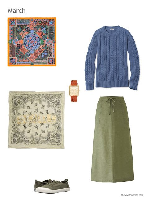 olive and denim blue skirt outfit with scarf, watch and canvas shoes