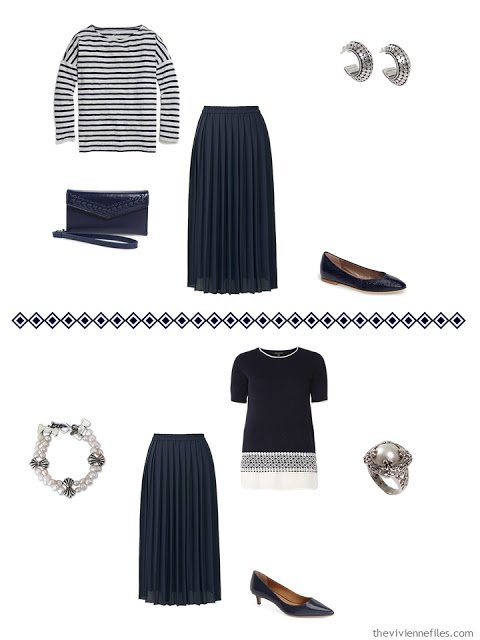 two ways to wear a Uniqlo navy pleated skirt