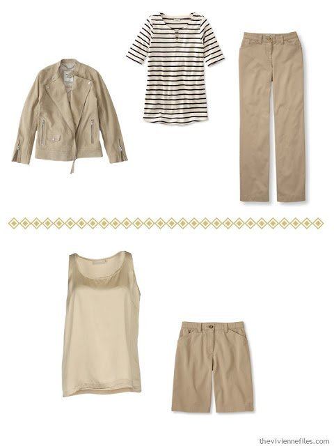 two casual outfits in warm tan or camel