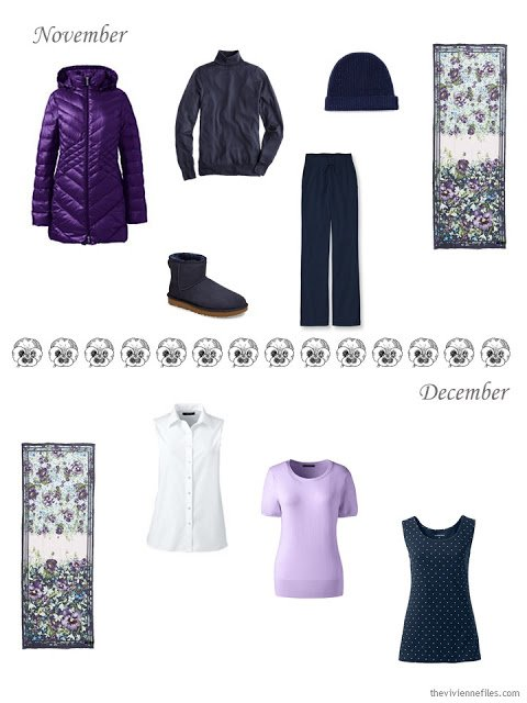 a cold-weather outfit in navy and purple, and some tops in white, purple and navy