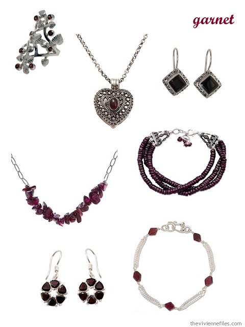 a family of seven pieces of garnet jewelry