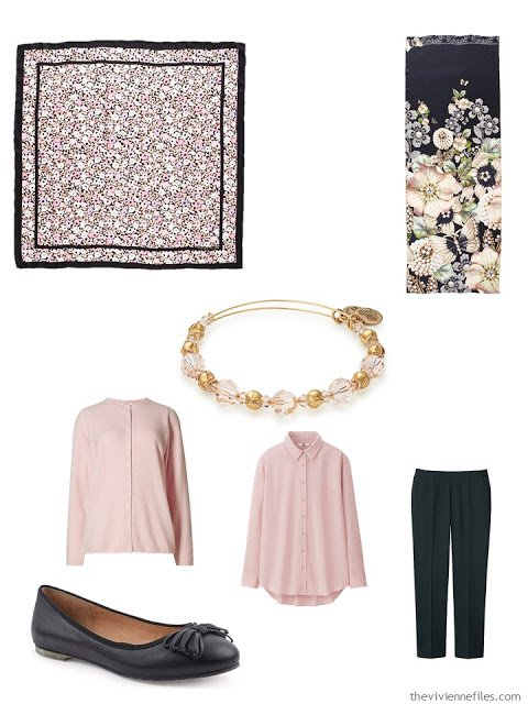 pink and black outfit with scarf, bracelet and ballet flats