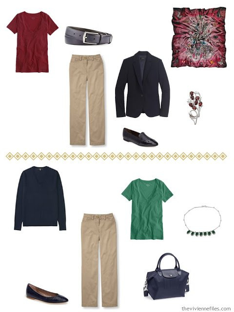 two ways to wear khaki pants with navy, and accents of wine or forest green