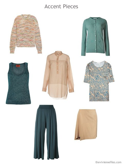 7 wardrobe accent pieces in camel and teal