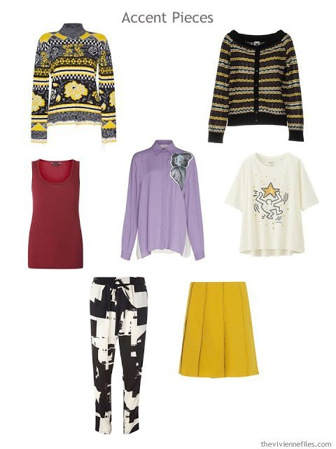 seven wardrobe accent pieces in yellow, red, purple, and black and white