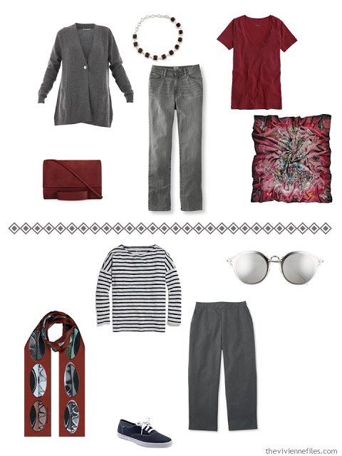 two grey outfits accented with wine