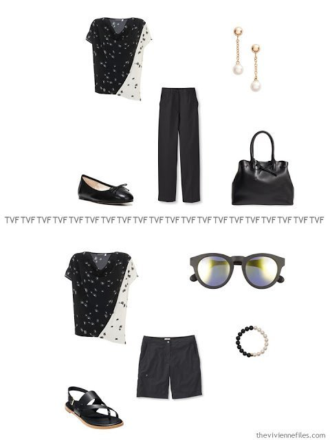 2 ways to wear a black and ivory print pieced top