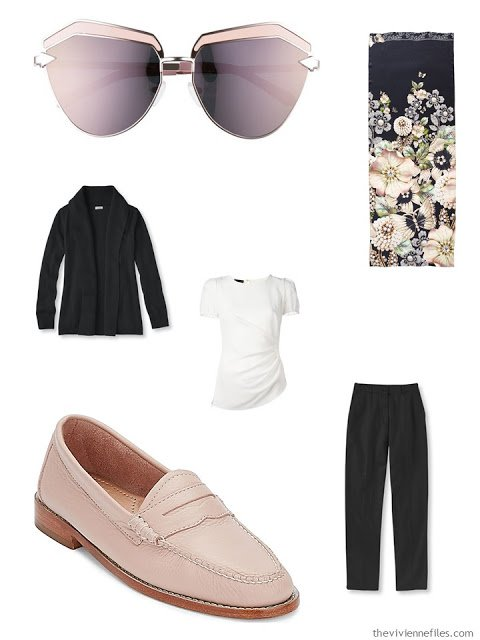black and white outfit with blush accessories