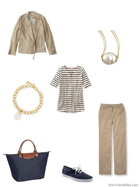 khaki outfit with gold and pearl jewelry and navy fabric accessories