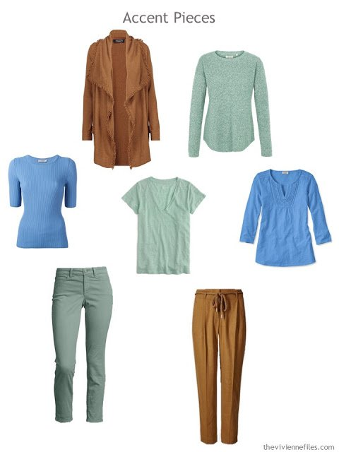 7 accent garments in tobacco brown, soft mint green and sky blue