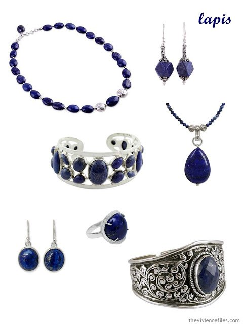 a family of seven pieces of lapis jewelry