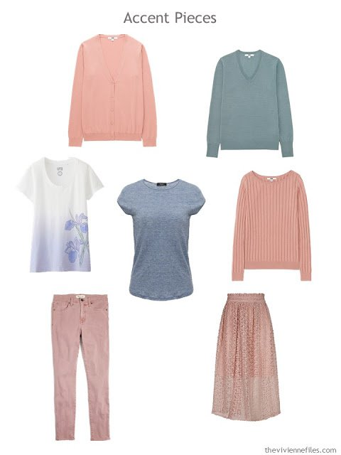 seven wardrobe accent pieces in soft peach, green, blue and lilac