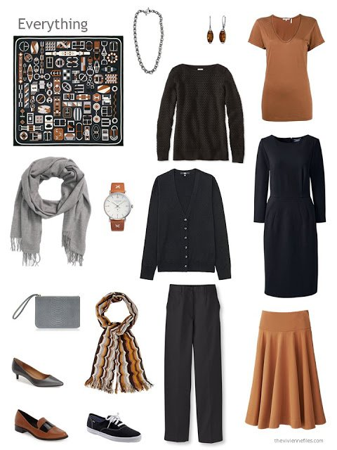 six-piece brown and black capsule wardrobe
