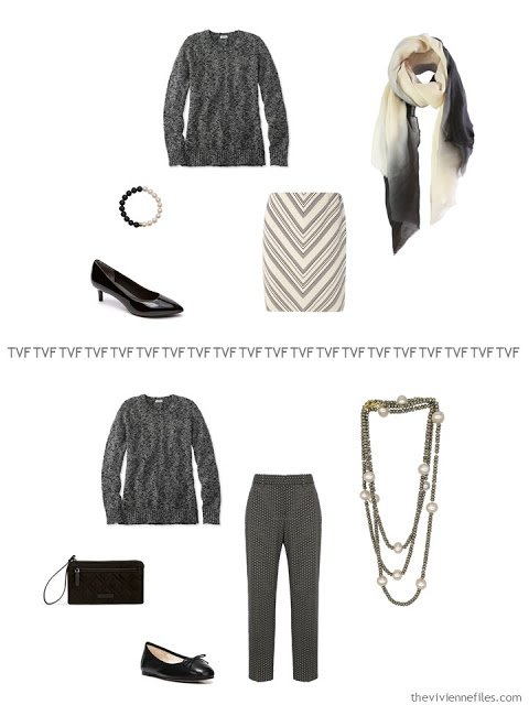 2 ways to wear a black and ivory marled cotton sweater