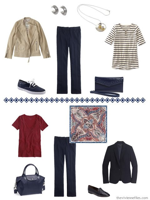 two ways to wear navy pants with camel and wine