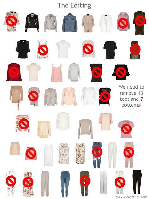 editing a 50-piece wardrobe down to 30 pieces