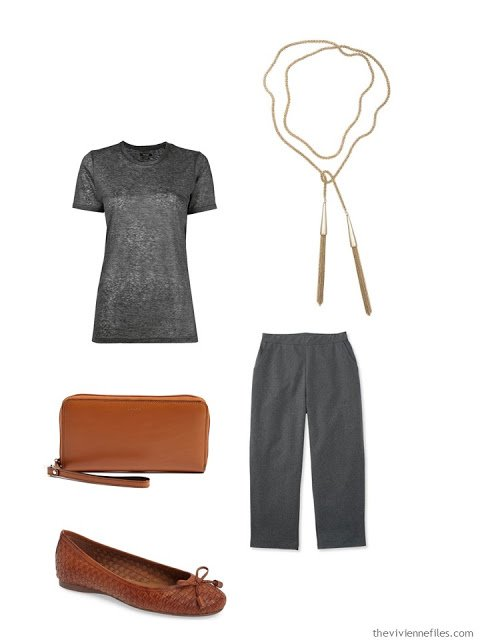 grey outfit with brown leather accessories