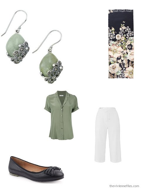 jade green blouse, white capris, jade earrings and black ballet flats
