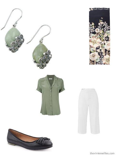 jade green blouse, white capris, jade earrings and black ballet flats