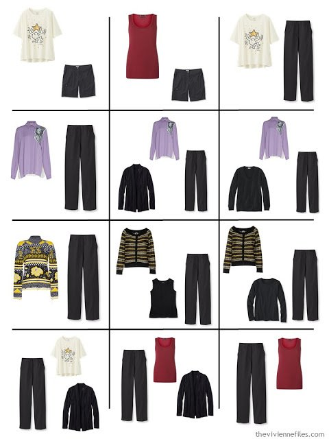 12 outfits assembled from a 4 by 4 Wardrobe in black, ivory, purple, yellow and red