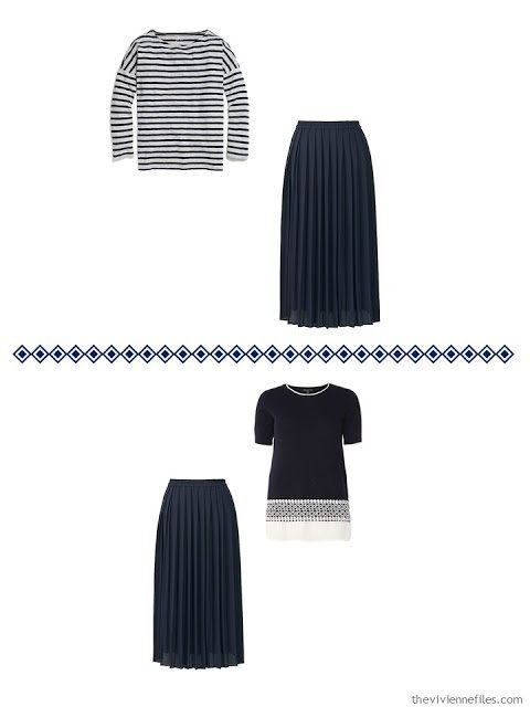 Two ways to wear a navy pleated skirt
