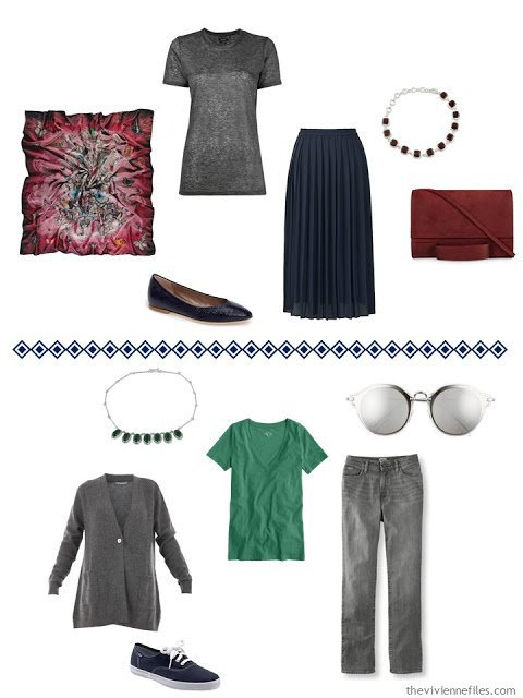 two outfits featuring grey and navy worn with wine and forest green accents