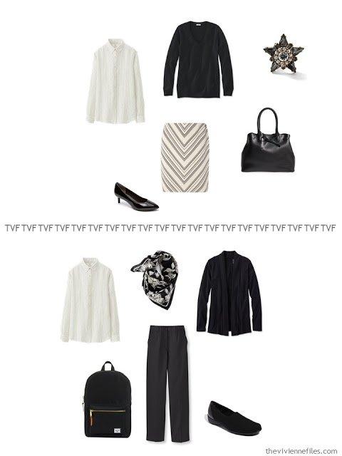 2 ways to wear an ivory striped linen shirt