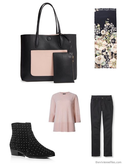 pink sweater and black jeans, with color blocked tote and studded boots