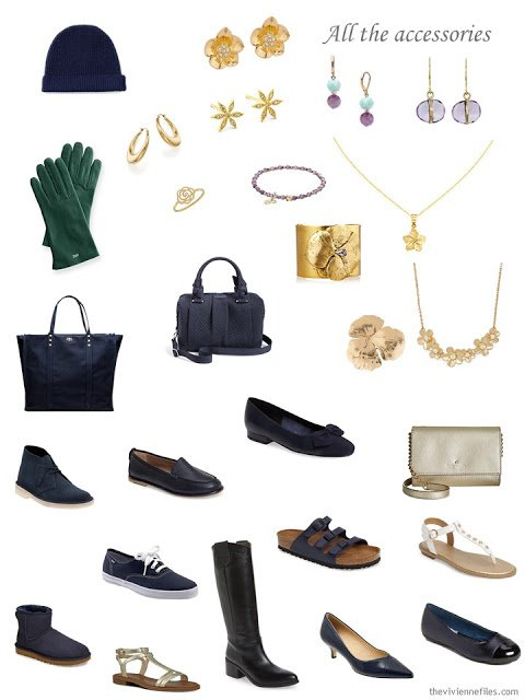 accessories for a navy-based, flower inspired wardrobe