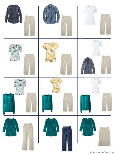 a dozen outfits taken from a 4 by 4 Wardrobe in denim, khaki, teal, caramel and white