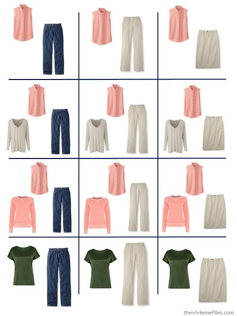 a dozen outfits from a 4 by 4 Wardrobe anchored in denim and khaki
