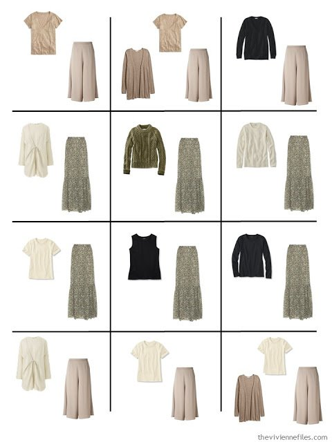 a dozen outfits from a Four by Four Wardrobe in black, ivory, taupe and sage green