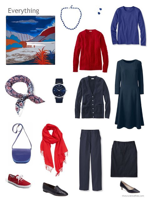 six-piece navy, red and lapis blue capsule wardrobe
