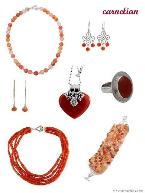 a family of seven pieces of carnelian jewelry