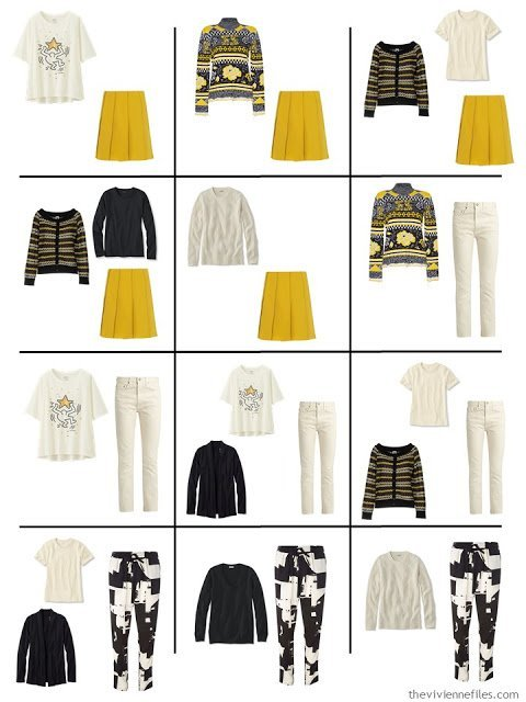 a dozen outfits from a 16-piece travel capsule wardrobe in black, ivory, yellow, red and purple