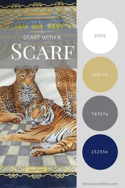 How to Build an All-Neutral Wardrobe in a Navy, Grey, Camel and White color palette based on a scarf.
