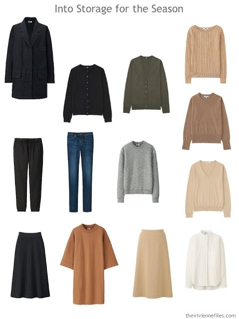 cool-weather garments to go into storage for the summer