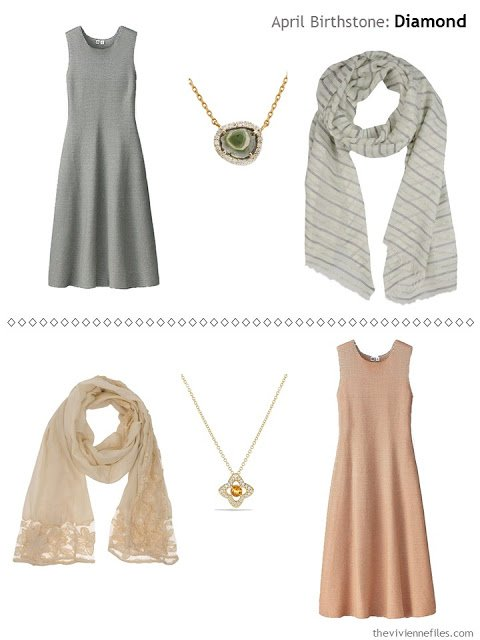 diamond accented jewelry with an olive dress, and with a rust dress